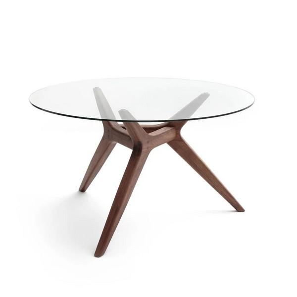 table noyer verre