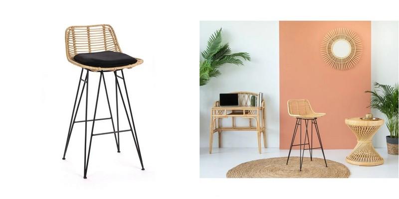 chaise bar design rotin