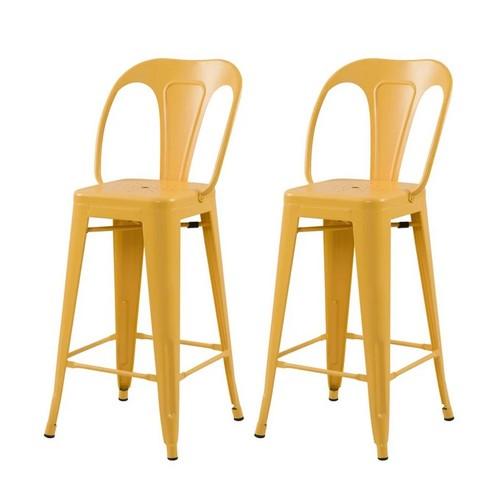 chaise metal jaune 65 cm bar