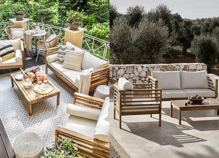 Salon jardin bois style mediterraneen