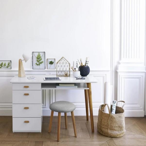 bureau style scandinave blanc bois