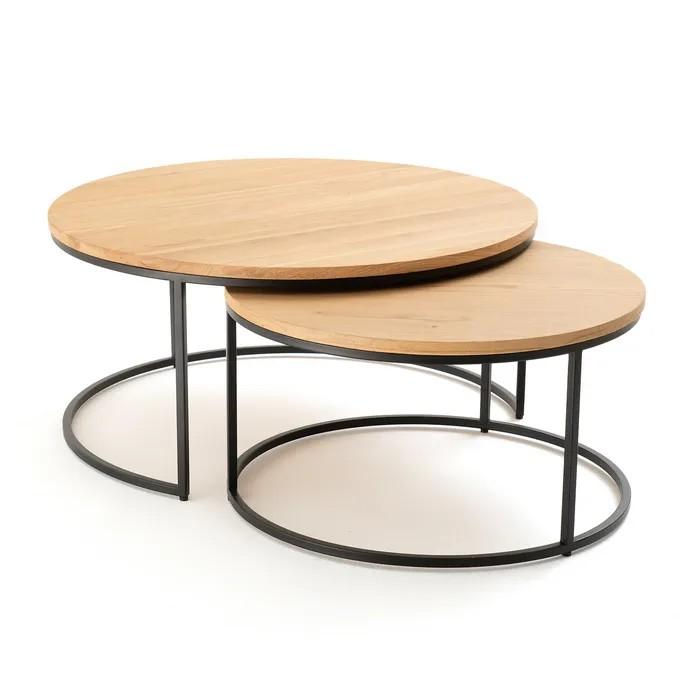 table basse ronde gigogne bois